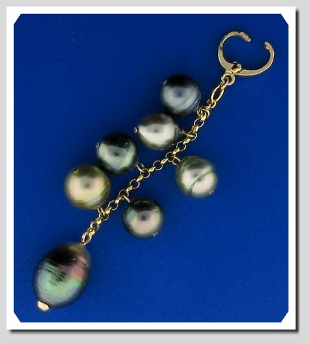 Multi Color Tahitian Pearl Lariat Pendant on Black Robber Chain, 14K Yellow Gold, 16+3 In.