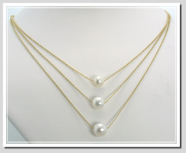 6.8MM to 8.4MM Tri-Strand Cultured Pearl Flow Necklace, 14K Gold, 16 + 17 + 18 Inches