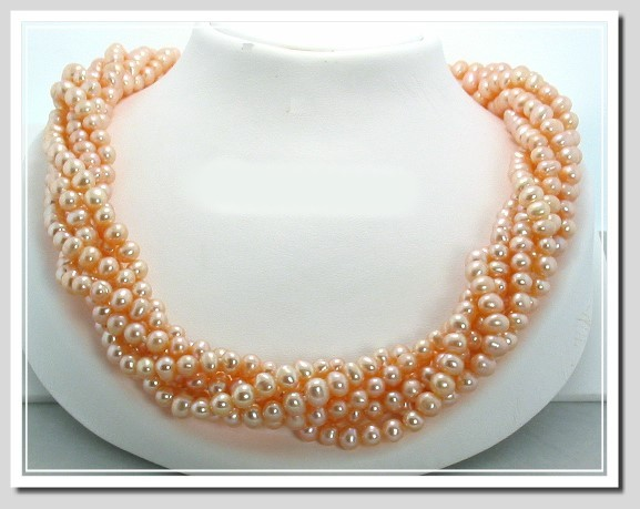 6 Strand 6-6.5MM Pink Freshwater Pearl Necklace 19in