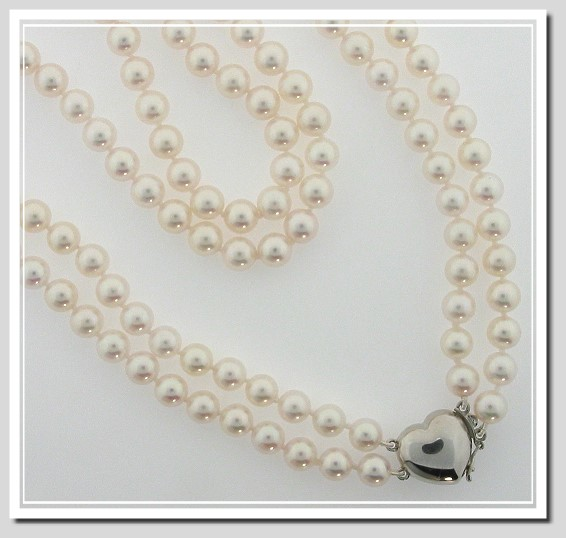AA 7-7.5MM Akoya Chinese Cultured Pearl Double Strand Necklace 14K Heart Clasp 17+18in.