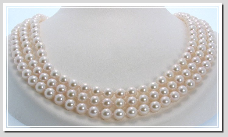 AA+ 6-6.5MM Akoya Pearl Tri Strand Necklace 14K Clasp 16+17+18in.