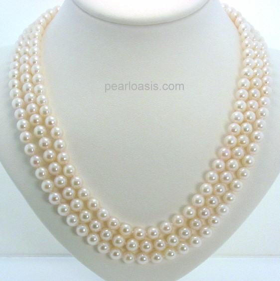 AA+ Grade Tri Str. 5.5-6MM White Akoya Pearl Necklace 14K Ruby Clasp 16-18in.