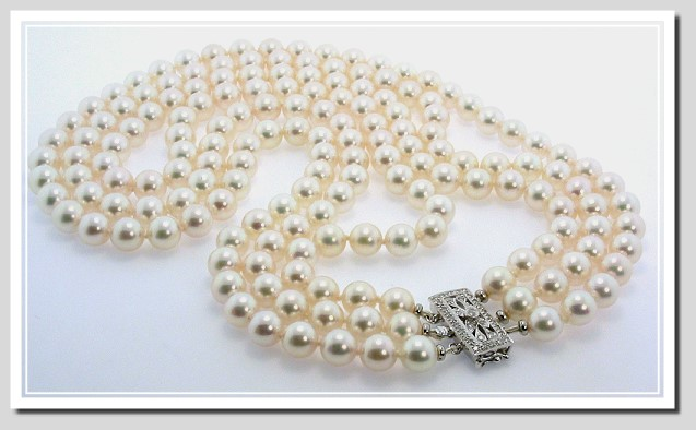 AAA+ Grade Triple Str. 7.5-8MM White Japanese Akoya Cultured Pearl Necklace w/14K Diamond Clasp, 18+19+20 In.