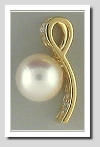 8.5-9MM White Akoya Cultured Pearl Diamond Wide-Style Pendant Slide 18K Gold