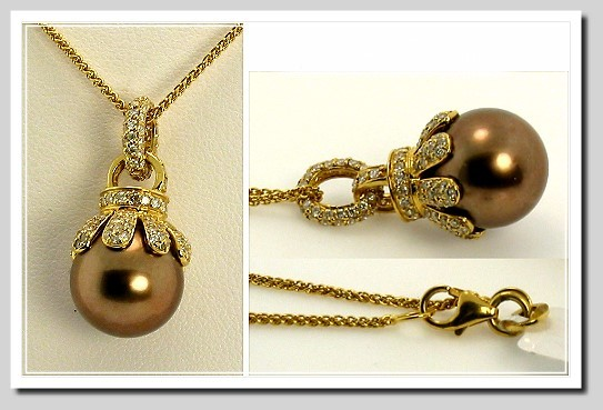 11.2MM Chocolate Tahitian Pearl Diamond Pendant w/Chain 18K Gold 16in