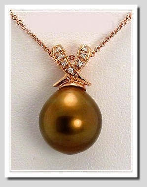12MM Chocolate Tahitian Pearl Diamond Pendant w/Chain 14K Gold 16in