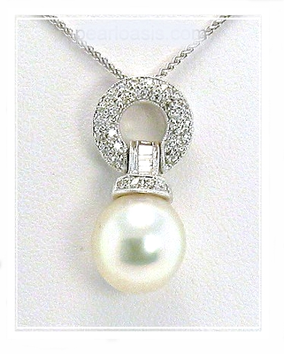 11.3MM White South Sea Pearl Diamond Pendant w/Chain 18K Gold 16in