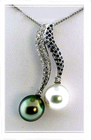 10.5MM Tahitian 10.7MM South Sea Pearl Diamond Sapphire Pendant w/Chain 18K Gold 16in