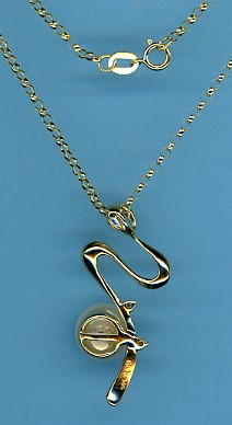9MM White FW Pearl Diamond Pendant Slide w/Rolo Chain, 14K Yellow Gold 16 In