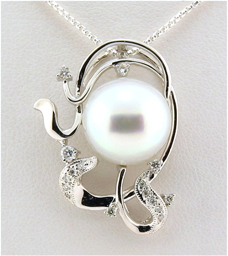 11.8MM White South Sea Pearl Pendant w/0.18 Ct. Diamonds, 18K White Gold