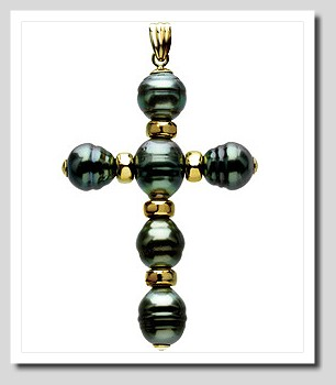 8-9MM Tahitian Pearl Cross Pendant 14K Yellow Gold