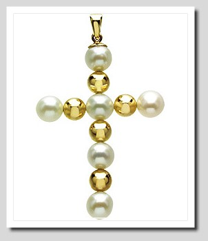 5.5-6MM White Freshwater Pearl Cross Pendant 14K Yellow Gold