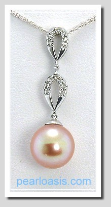 AAA 9-9.5MM Pink FW Pearl & Diamond Pendant 14K White Gold