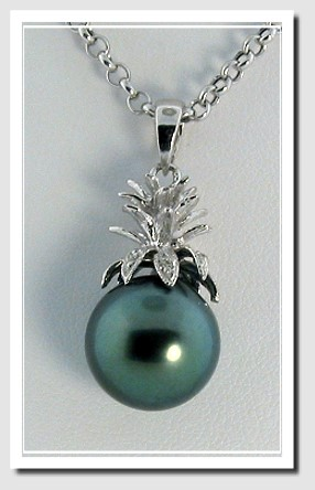 12.47MM Peacock Tahitian Pearl Pineapple Style Pendant 14K White Gold
