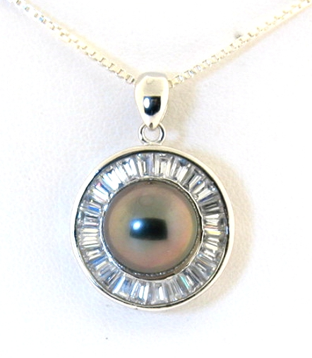 11MM Tahitian Pearl & Crystal Pendant w/Chain 18in, Sterling Silver