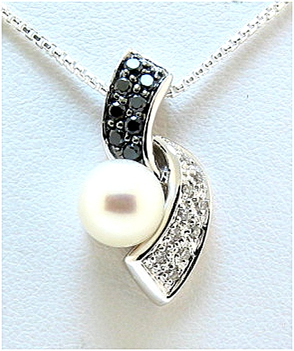 7-7.5MM White Cultured S-Style Pearl Pendant, 14K White Gold w/Black & White Diamonds