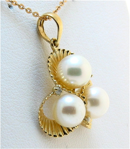 6.5-7MM Multi Freshwater Cultured Pearl Pendant w/Diamonds, 14K Yellow Gold