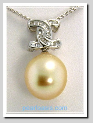 11.2X12.9MM Medium Golden South Sea Pearl Pendant-Slide, 18K White Gold w/0.20 Ct. Diamonds, Chain 18in.
