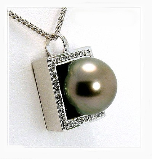 10.66MM Gray Tahitian Pearl Pendant Slide w/0.19 Ct. Diamonds, 18K White Gold