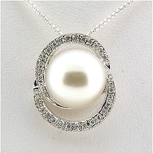 12.5MM White South Sea Pearl Pendant-Slide w/0.15 Ct. Diamonds, 18K White Gold