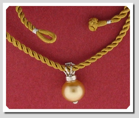 11.63MM Dark Golden South Sea Pearl Pendant w/Silk Rope, 14K White Gold, 16 In.