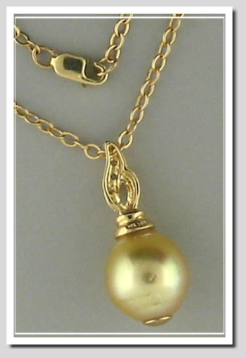 11.36X13MM Dark Golden South Sea Pearl Pendant w/Chain, 14K Yellow Gold, 18 In.