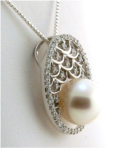 12.2MM White South Sea Pearl Pendant Slide w/0.70 ct. Diamonds, 18K White Gold