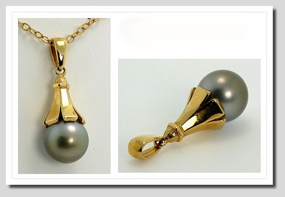 11.4MM Gray Tahitian Pearl Pendant 14K Yellow Gold