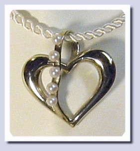 Large Heart Pendant Slide w/Cultured Pearls, 14K White Gold