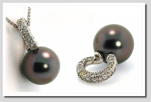 11.8MM Black Tahitian Pearl Pendant Slide, 0.42 ct. Diamonds, 18K W Gold Omega Chain 18 in.