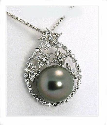 12.3MM Black/Red Tahitian Pearl Pendant, 0.53 Ct. Diamonds, 18K W Gold