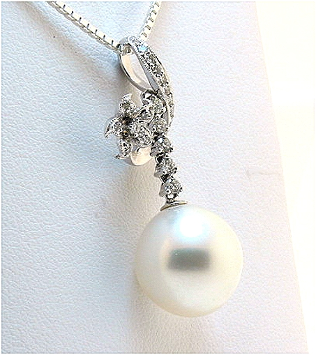 12.5MM White South Sea Pearl Pendant 0.40 Ct. Diamonds 18K W Gold