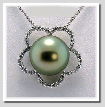 12.5MM Gray/Blue Tahitian Pearl Pendant Slide 0.33 Ct. Diamonds, 18K W Gold, 16 in. Chain