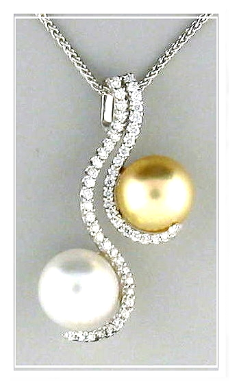 108 106mm white golden south sea pearl pendant slide wchain 18k aloadofball Gallery