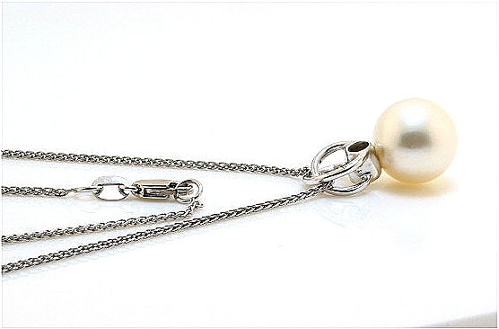 10.5MM White South Sea Pearl Diamond Pendant w/Chain 14K W 18in.