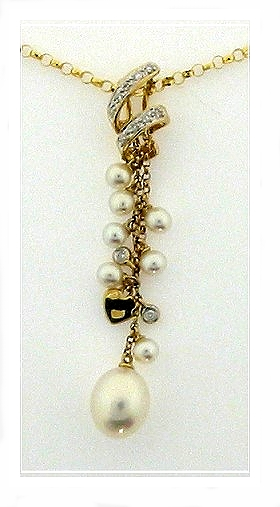 Multi White Freshwater Pearl Diamond Pendant 14K Yellow Gold