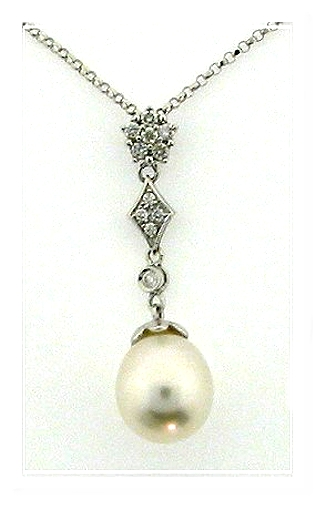 9.4X11MM White South Sea Pearl Diamond Pendant 14K White Gold