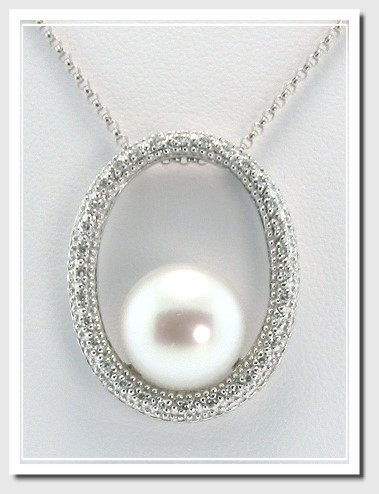 11MM White Pearl Diamond Oval Circle Pendant Chain 14K White Gold 16in