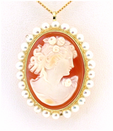 19X25MM Cameo Pearl Pendant/Pin 14K Yellow Gold