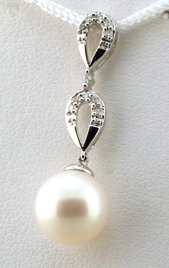 AAA 9-9.5MM FW Pearl & Diamond Tear Drop Pendant 14K White Gold