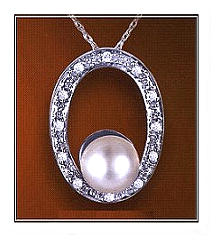 AAA 7-7.5MM FW Pearl & Diamond Oval Pendant 14K White Gold