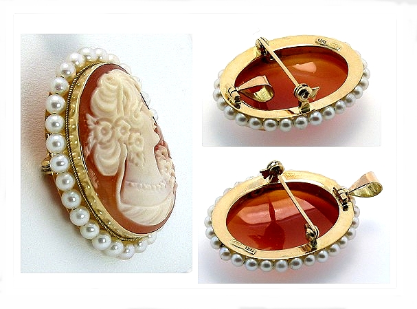 19X25MM Cameo Pearl Brooch 14K Yellow Gold