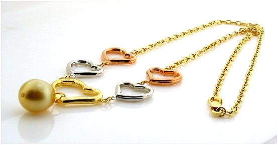 Designers Heart Necklace 9.8X11.5MM Golden South Sea Pearl 14K Tri Color Gold 17in.