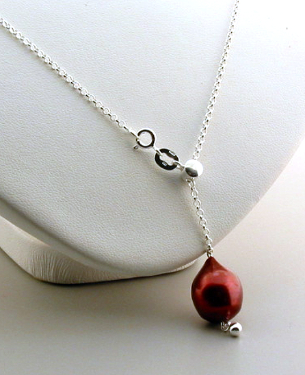 11x14MM Red/Brown Freshwater Pearl Lariat Adjustable Necklace, Sterling Silver, 22in