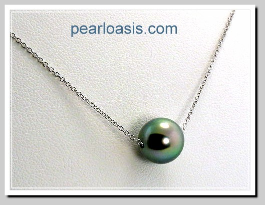 faafb3302ec7b 9.7MM Peacock Tahitian Pearl Slide Floating on 14K White Gold Chain 1