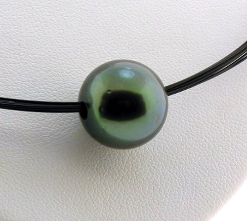 13.9MM Peacock Tahitian Pearl Slide on Wire 18in., Silver