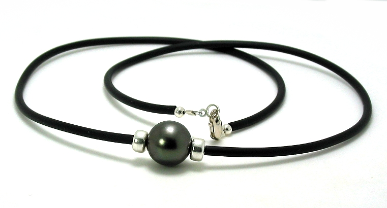 11.7MM Tahitian Pearl & Roundals on Black Rubber Cord, Silver, 20in.