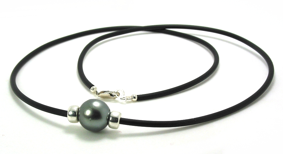 12.7MM Gray Tahitian Pearl & Roundals on Black Rubber Cord, Silver, 24in.
