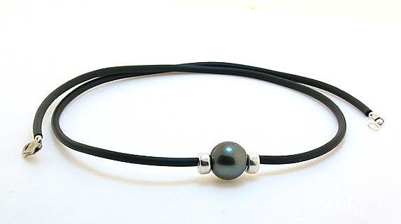 10.9MM Dark Gray Tahitian Pearl & Bead on Rubber Cord Necklace, Silver 18in