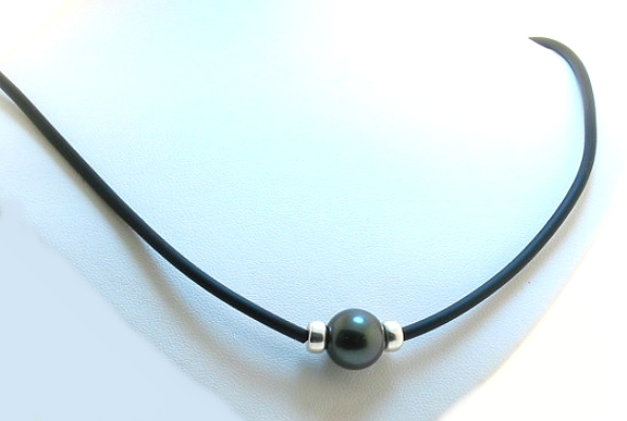 11.2MM Black Round Tahitian Pearl & Bead on Rubber Cord Necklace, Silver 20in